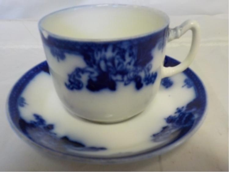 Royal Vitreou 'Roseville' Flow Blue Cup & Saucer