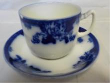 Royal Vitreou 'Roseville' Flow Blue Cup & Saucer