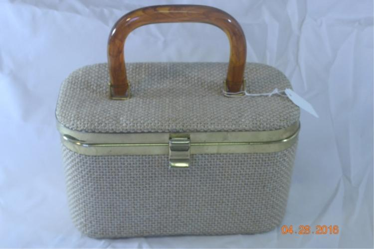 Tweed Fabric Train Case Purse JR Florida