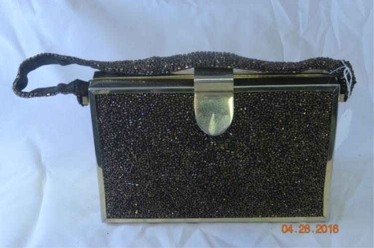 Tyrolean Bronze Beaded Purse w Brass Fram
