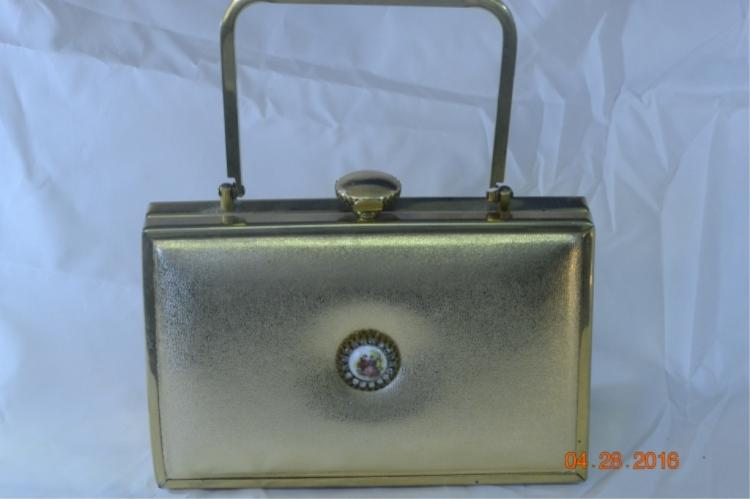 Tyrolean Gold Vinyl Brass Frame Purse