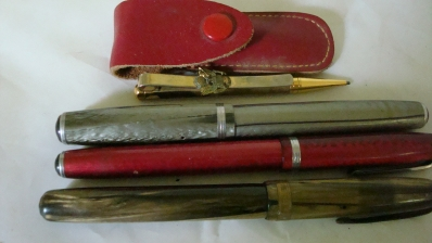 3 Fountain Pens Plus Lapel Pencil in Case