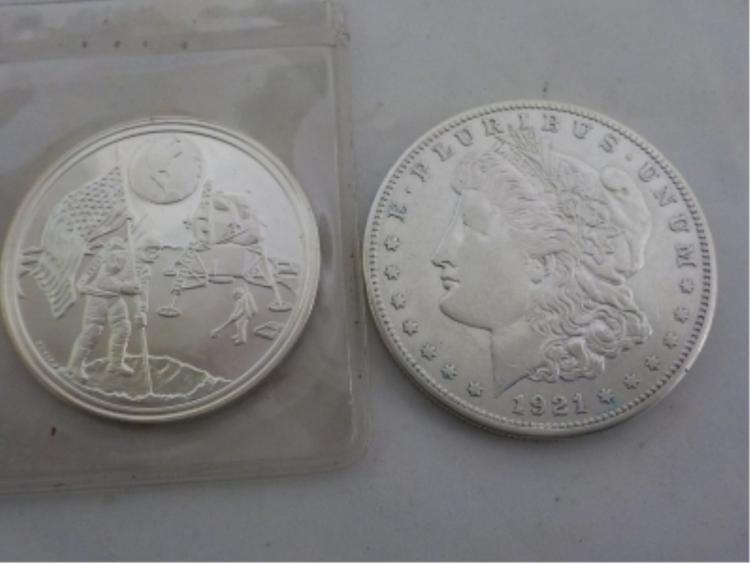 1921-S Morgan & 1969 Silver Round Moon Landing