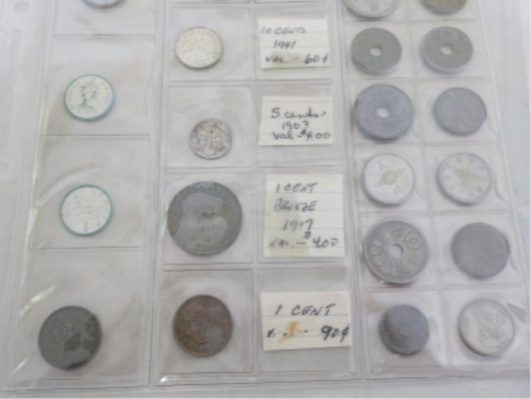 Single Page of Foreign Coins Canada Orient