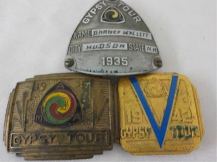 3 1935, 1938, 1942 MAA Gypsy Tour Badges
