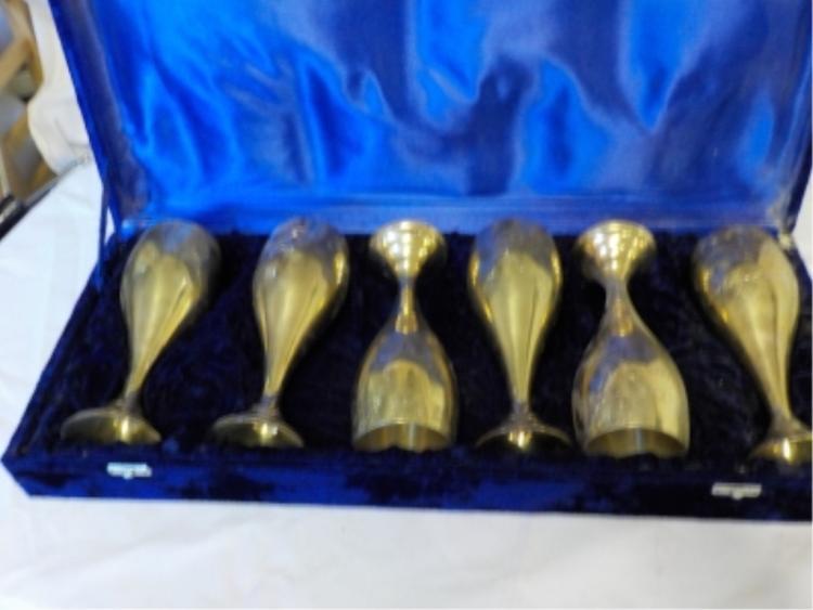 6 Brass Wine Goblets From Saudi Arabia in Case