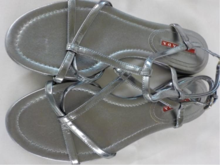 PRADA Silver Leather Sandals 37 Never Worn