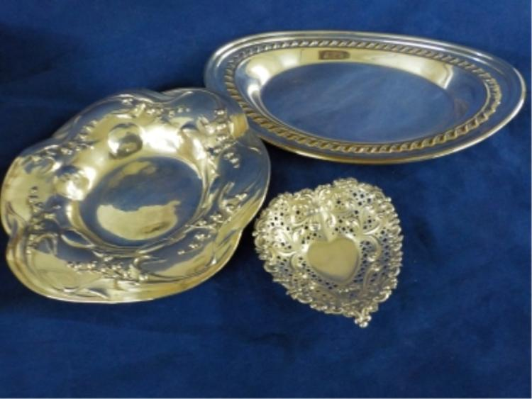 3 Sterling Silver Small Dishes 8.725 ozt
