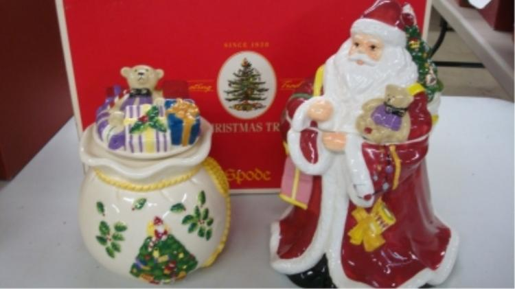 Spode Father Christmas & Toy Bag Cookie Jars