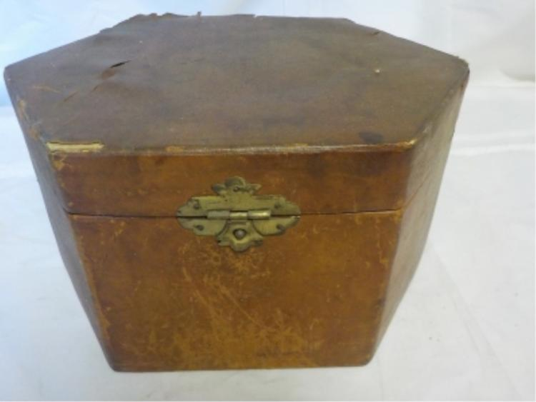 Octagon Leather Covered Box with Shirt Collars
