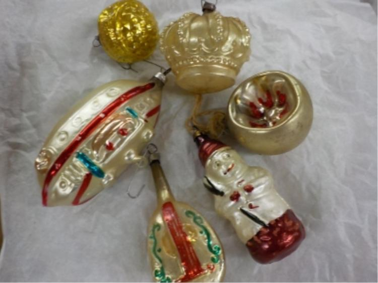 6 1920-30's German Hand Blown Christmas Ornaments