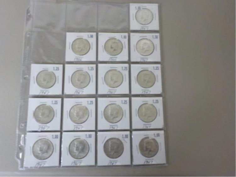 16 40% Silver Kennedy Half Dollars 1967