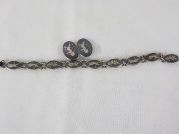 Siam Silver 'Neielloware' Bracelet & Clip Earring