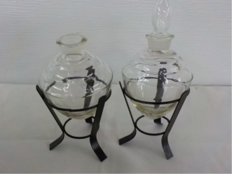 2 Clear Glass Apothecary Jars in Metal Stands