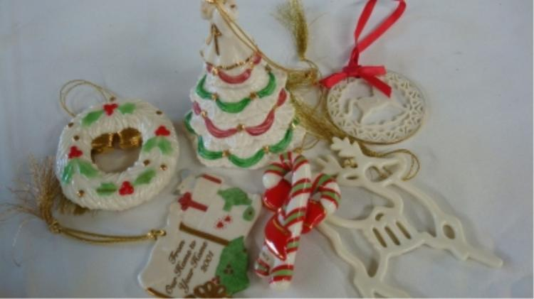 Lenox Christmas Ornaments (6) Tree, Wreath, Candy