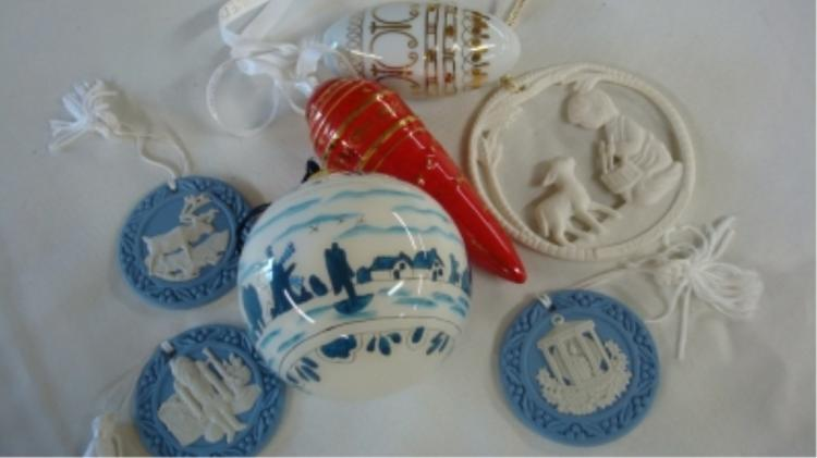 Wedgewood Christmas Ornaments (6) Plus 1