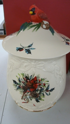 Lenox Winter Greeting Cookie Jar with Box