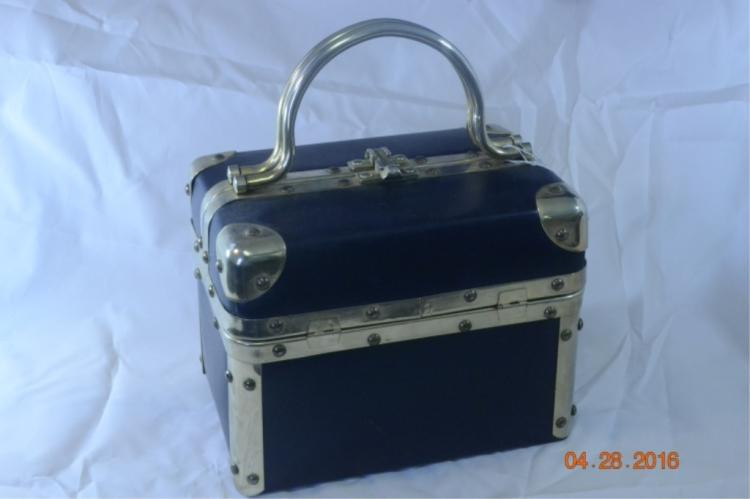 Black Vinyl Train Case Purse Brass Trim