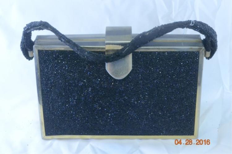 Tyrolean Black Beaded Purse w Brass Frame