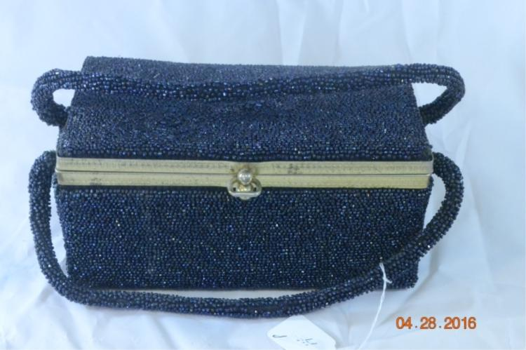 Blue Beaded Box Purse - no mfg label