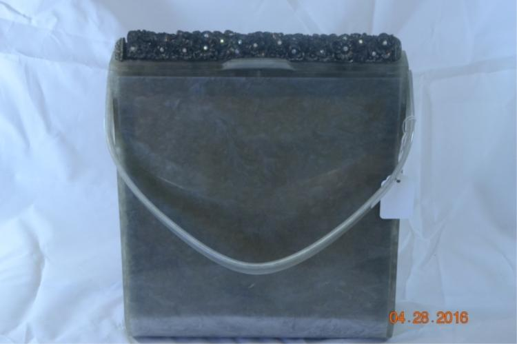 Wilhardy Gray Lucite Purse (1 or 2 missing stones)