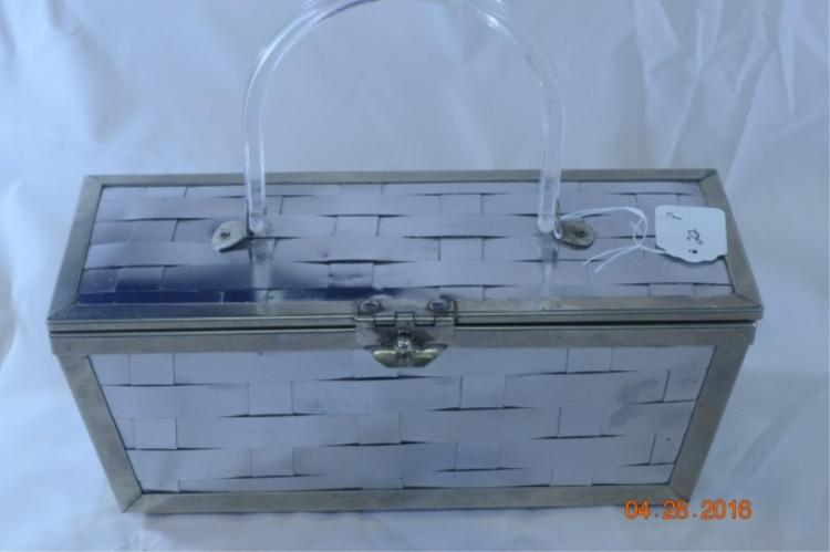 Woven Metal with Lucite Handle Purse