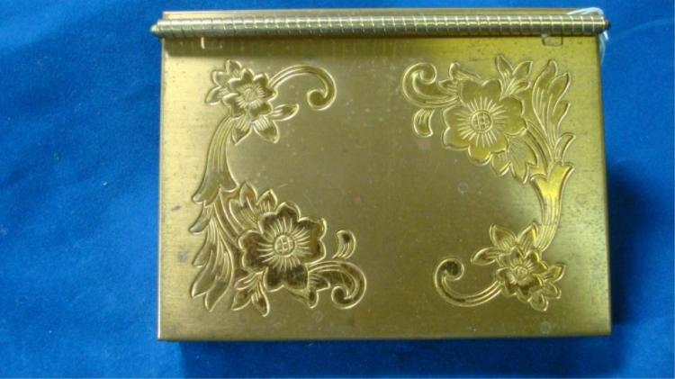 Volupte Floral Engraved Design Gold Tone Compact