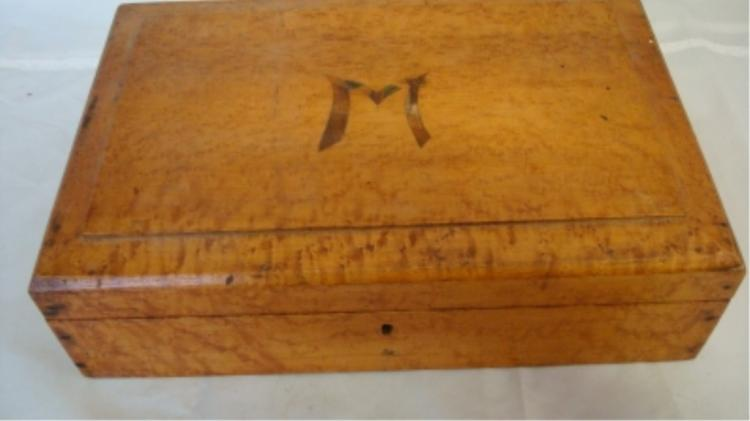 Older Wooden Box with Inlaid Monogrammed