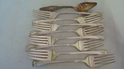 8 Sterling Silver Forks 1 Spoon 10 ozt