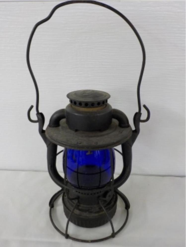 Dietz Vesta New York Blue Glass Railroad Lantern
