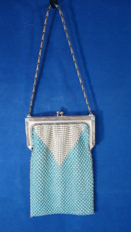 Whiting & Davis Blue & White Enamel Mesh Purse