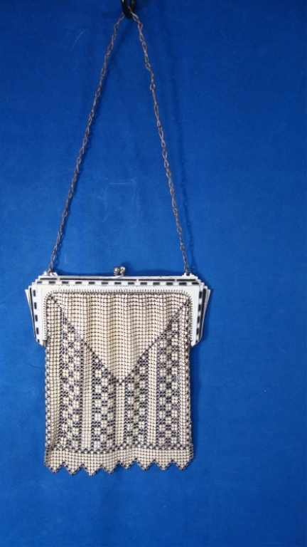 Whiting & Davis Enamel Mesh Purse Black & White