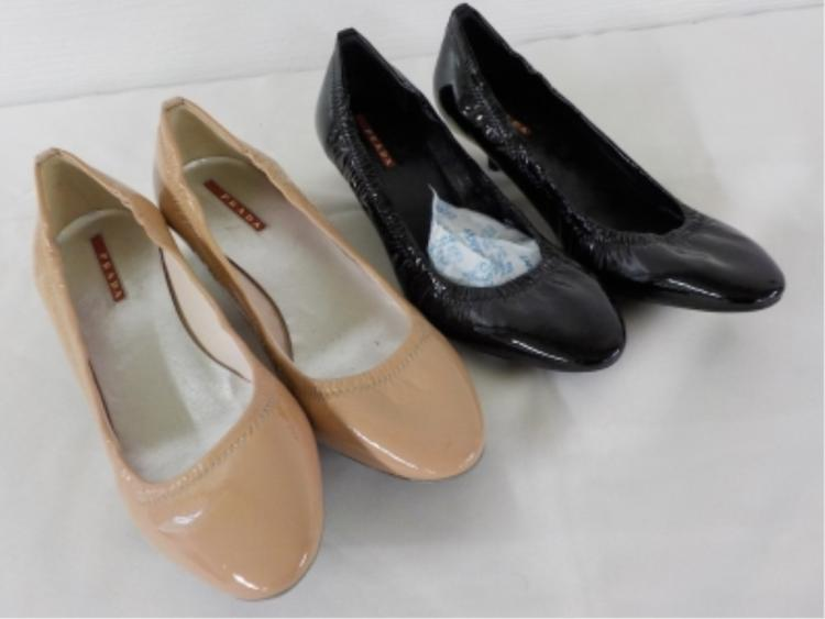 2 Pair PRADA Shoes Nude/Black Size 37 1/2 (7.5 US)