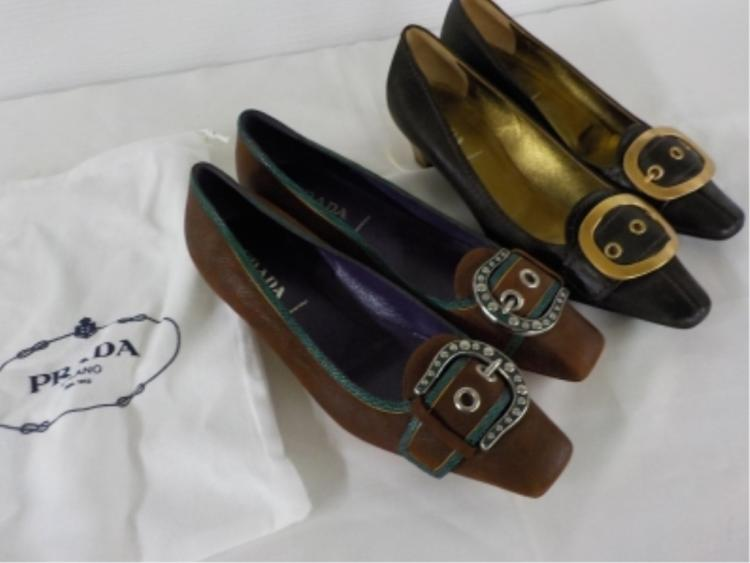 2 Pr PRADA Shoes 37 & 371/2 Brown with Buckles