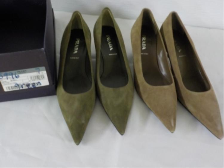 2 Pr PRADA Shoes Green/Tan Suede w box