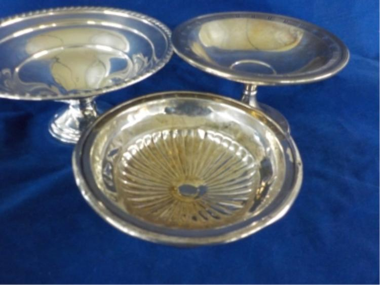 2 Sterling Silver Pedestal Candy Dishes 10.495 ozt