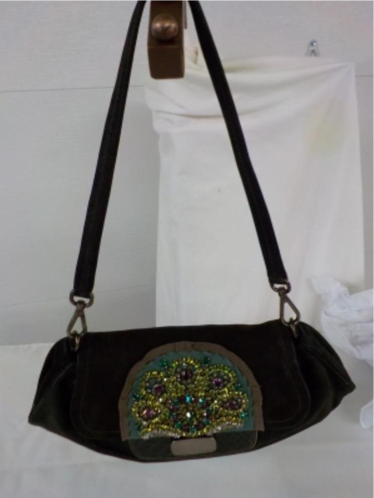 PRADA Brown Leather Handbag Beautiful Rhinestones