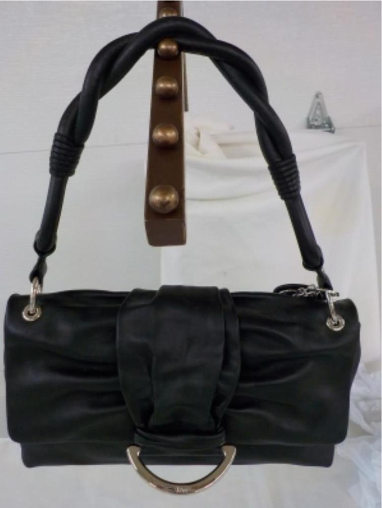 Dior Black Leather Handbag Never Used 1980's