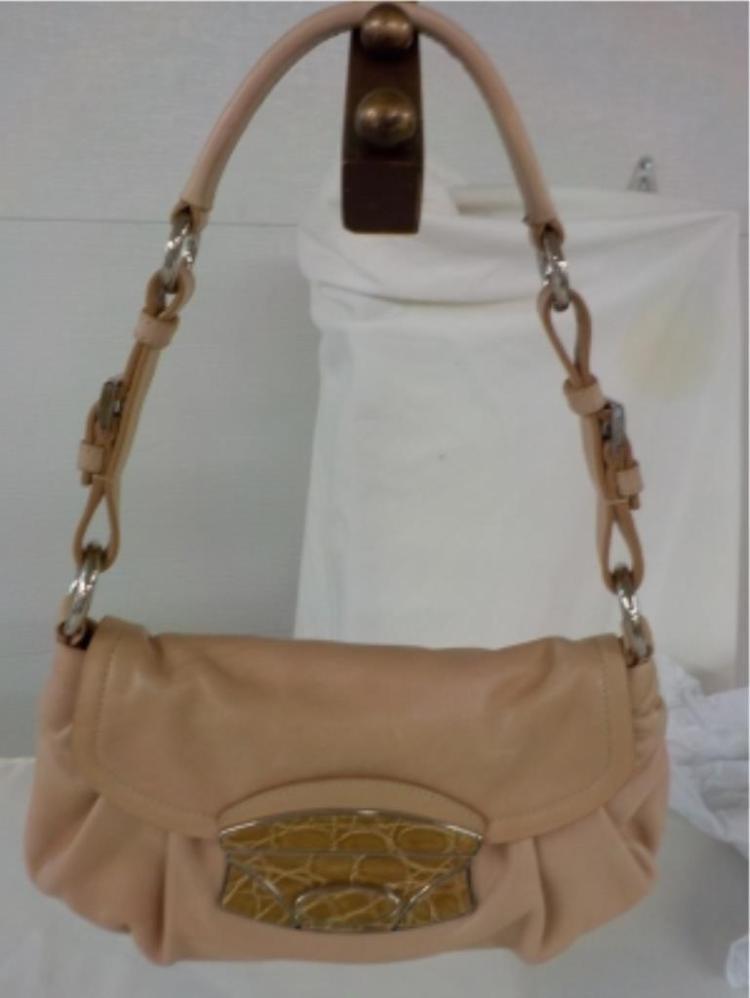 PRADA Beige/Pink Handbag Snake Design