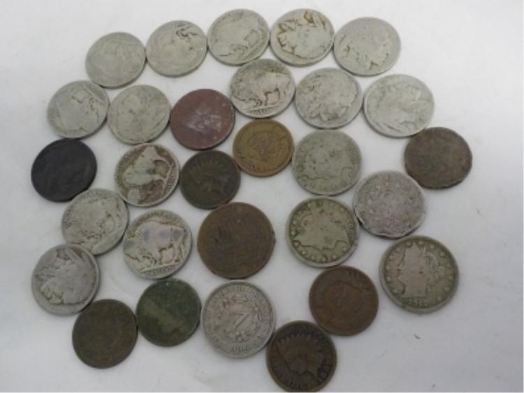 15 Buffalo Nickels & 6 V Nickels 7 Indian Cents