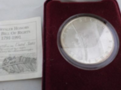 Commemorative Bill of Rights Silver Round 1 TOZ