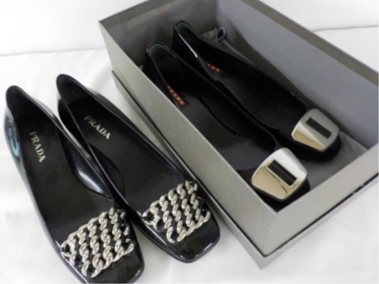 2 Pr PRADA Black Patent Leather Shoes 37 & 37 1/2