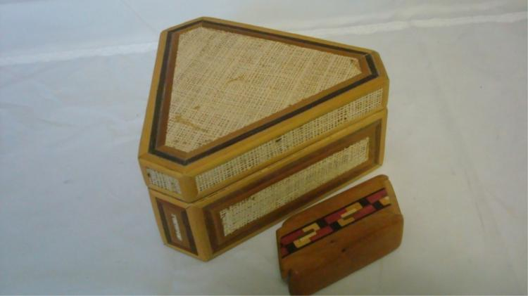2 Wood Trinket Boxes with Inlay