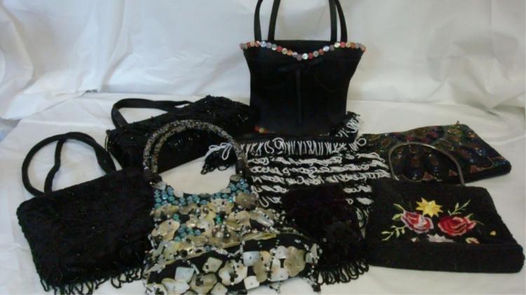 8 Black Beaded/Fabric Fancy Prom Purses
