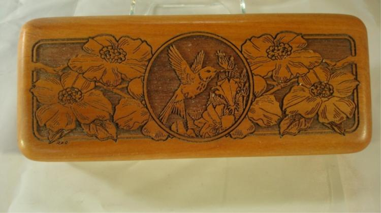 Wilderness Woods Carved Hummingbird Box
