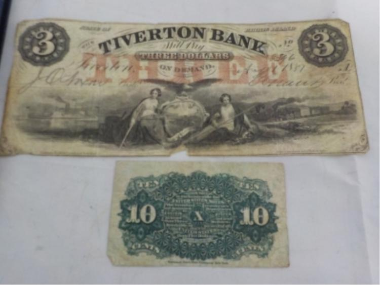 3 Dollar Tiverton Bank Note RI 1857