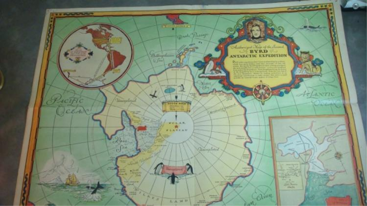 1934 GRAPE NUTS PREMIUM ADMIRAL BYRD ANTARCTIC MAP