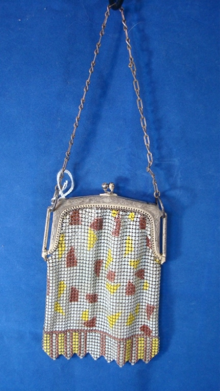 Whiting & Davis Enamel Mesh Purse Brown/Yellow/Whi