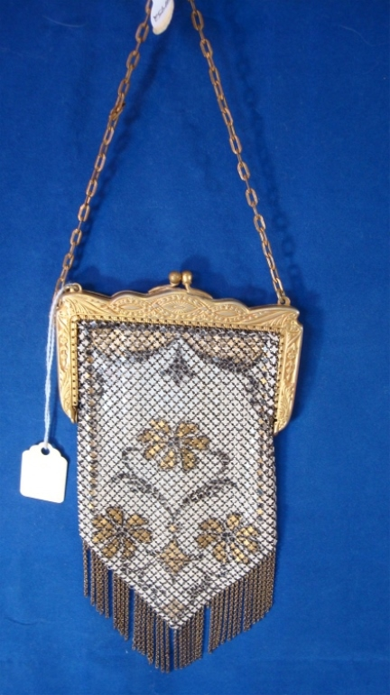 Mandalian Yellow/Brown Enamel Mesh Purse