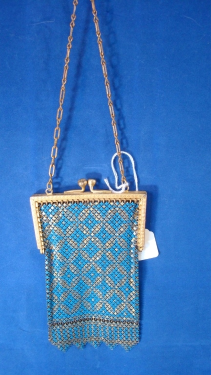 Mandalian Blue & Gold Mesh Purse